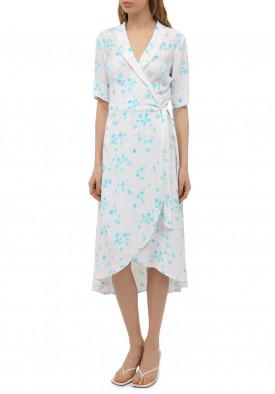 Ganni Floral Crêpe Wrap Dress