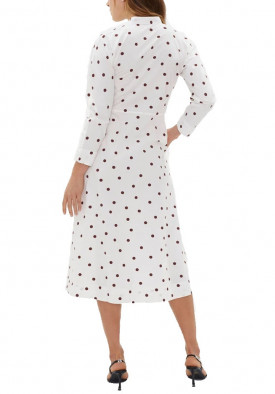 Ganni Polka Dot Print Cotton Poplin Midi Dress