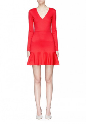 Alice + Olivia Francine V-Neck Fit & Flare Mini Dress