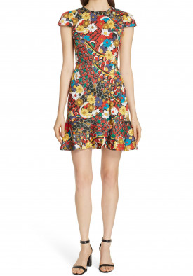 Alice + Olivia Kirby Ruffled Stretch Cotton Dress