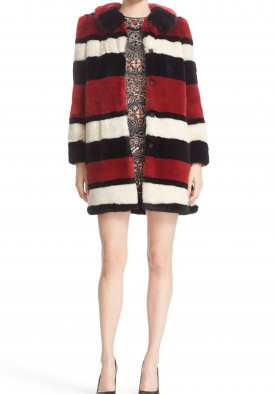 Alice + Olivia Kinsley Oversized Stripe Faux Fur Coat