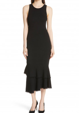 Theory Nilimary Knit Ruffle Maxi Dress