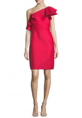 Halston Heritage One-Shoulder Flounce Mini Dress
