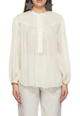 Isabel Marant Kiledia Puff Sleeve Cotton & Silk Blouse