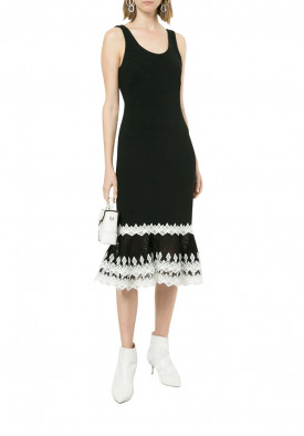 Jonathan Simkhai Contrast Lace Peplum Hem Sleeveless Dress