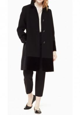 Kate Spade Faux Fur Collar Velvet-Trim Coat