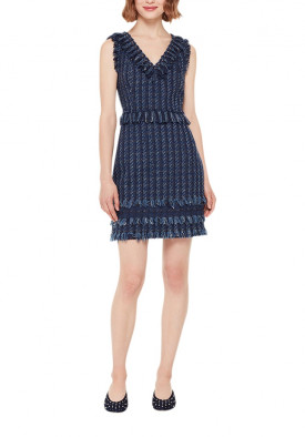 Kate Spade Madison Avenue Fringe V-Neck Tweed Dress