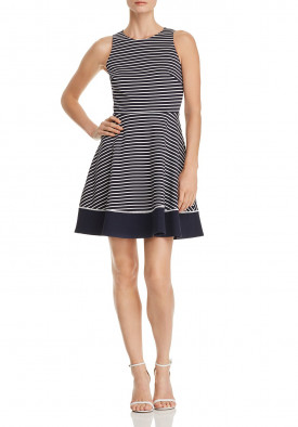 Kate Spade New York Striped Ponte Fit & Flare Dress