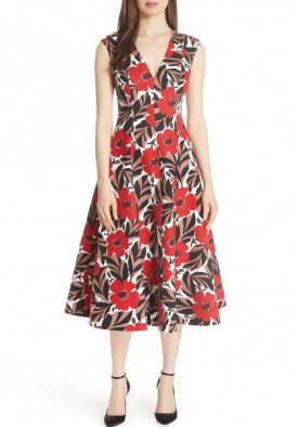 Kate Spade Poppy Field Structured Midi Dress