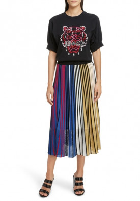 Kenzo Pleated Colorblock Rib Knit Skirt