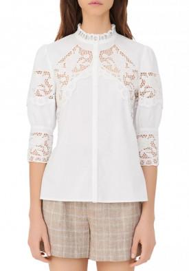 Maje Cebella Lace-Trim Cotton Shirt