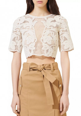 Maje Ibiza Collection Leona Open-Knit Crop Top
