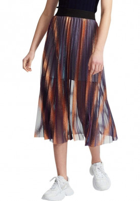 Maje Jaja Pleated Iridescent Long Skirt