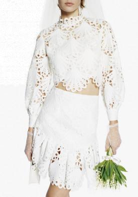 Maje Julie Guipure Lace Mini Skirt