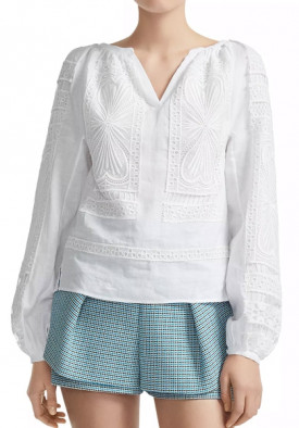 Maje Lippy Guipure Lace-Inset Top