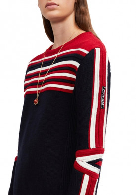 Maje Moto Striped Wool-Blend Sweater