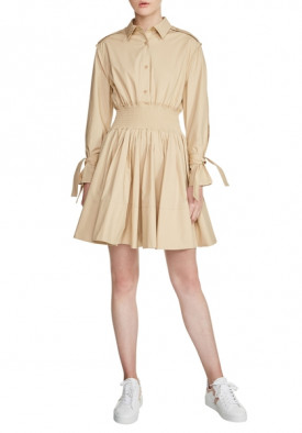 Maje Ralix Smocked Waist Shirtdress