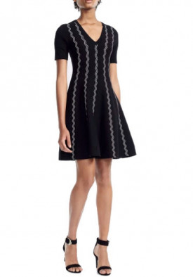 Maje Rigole Zig Zag Jacquard Knit Dress