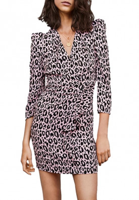 Maje Ripanta Leopard Print Wrap Front Dress
