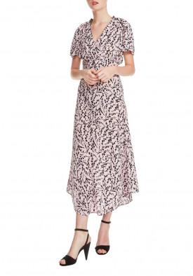 Maje Rivara High-Low Floral Surplice Dress