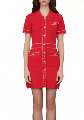 Maje Ross Contrast Knit Dress