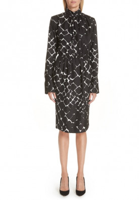 Marc Jacobs Printed Silk Turtleneck Midi Dress