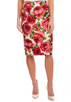 Michael Kors Collection Rose Jacquard Pencil Skirt