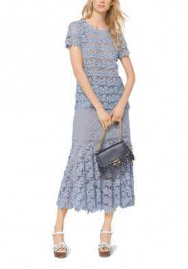 Michael Kors Mixed Floral Lace Skirt