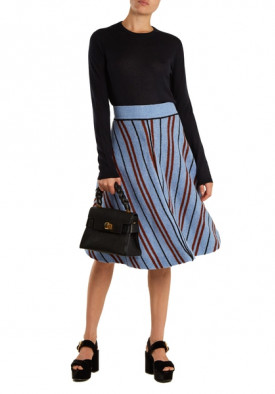 Miu Miu Chevron Intarsia Wool A-line Skirt
