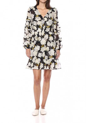 The Kooples Hydrangea Print V-Neck Mini Dress