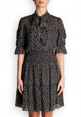 Rebecca Taylor Cheetah Print Silk Blend Dress