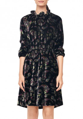 Rebecca Taylor Long-Sleeve Jewel Paisley Velvet Dress