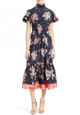 Rebecca Taylor Phlox Floral Silk Midi Dress