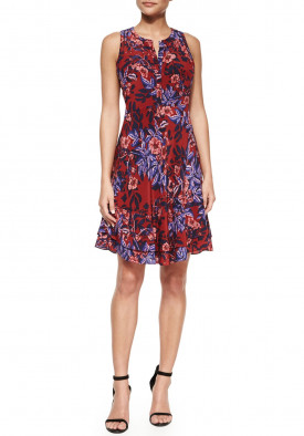 Rebecca Taylor Printed Sleeveless Flare Dress