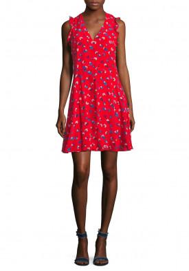 Rebecca Taylor Sakura Sleeveless V-Neck Silk Dress