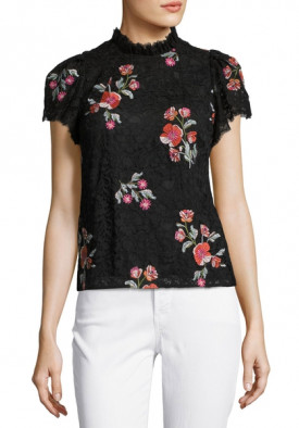 Rebecca Taylor Short-Sleeve Floral Embroidered Lace Top