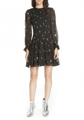Rebecca Taylor Smocked Scattered Tulip Clip Dress
