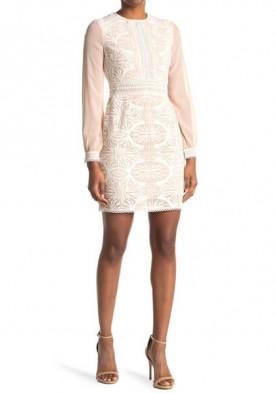 Reiss Aria Sheer-Sleeve Geometric Lace Dress