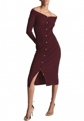 Reiss Camille Knitted Button Through Midi Dress