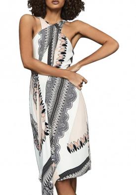 Reiss Hope Scarf-Print Wrap Dress