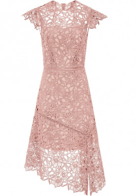 Reiss Ivana Lace Asymmetric Hemline Dress