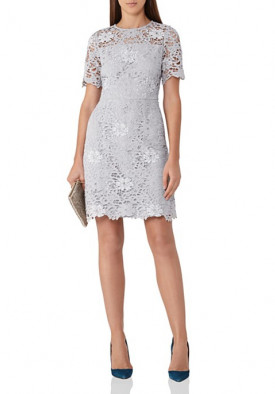 Reiss Lina Sequined Lace Mini Dress