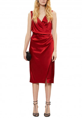 Reiss Lucine Satin Drape Cocktail Dress