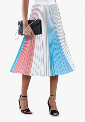 Reiss Nina Pleated Color-Block Skirt
