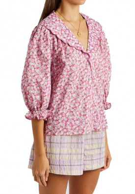 Rixo Carly Faded Floral Print Scalloped Blouse