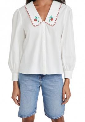 Rixo Lila Embroidered Cotton Blouse