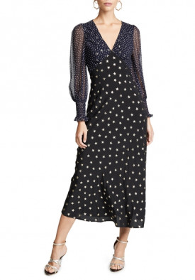 Rixo London Erin Star Printed Silk Dress