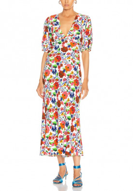 Rixo Steph Floral-Print Crepe de Chine Midi Dress