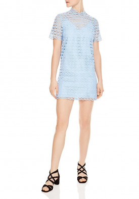 Sandro Air Short-Sleeve Neck Tie Lace Mini Dress