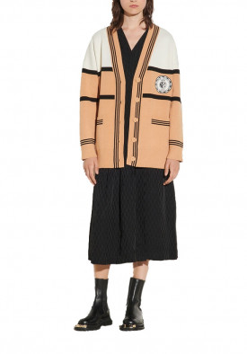 Sandro Amel Oversized Two-Tone Cardigan